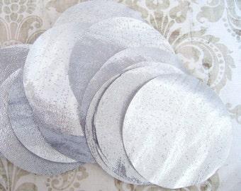 30 pcs 3 inches Silver Lame Hand cut Fabric Circles - Gold Metallic Tissue Lame Fabric