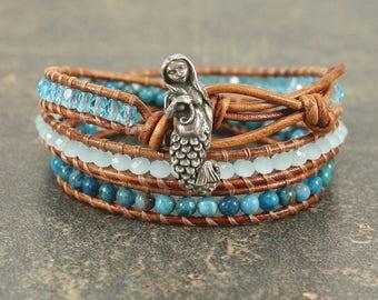 Mermaid Jewelry Silver Teal Turquoise Mermaid Bracelet Bohemian Beach Triple Leather Wrap Bracelet