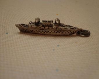925 Sterling Silver Vintage Charm, 3 Dimensional French Ship,  6 grams, Nautical Theme Charm