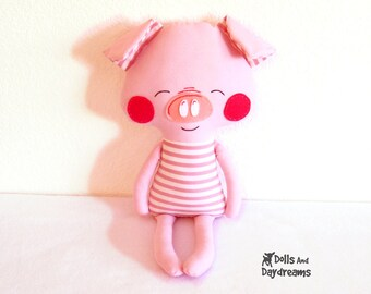 Pig Sewing Pattern PDF Softie Stuffed Toy Photo Tutorial Dress Up Farm Animal