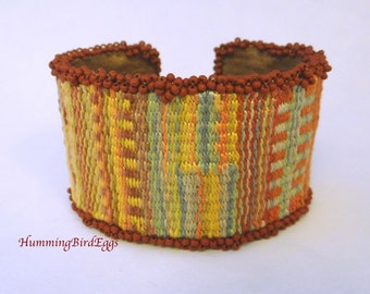 Beaded tapestry cuff bracelet handmade lined southwest desert inspired woven cuff bracelet loom woven cotton and nylon wide cuff bracelet