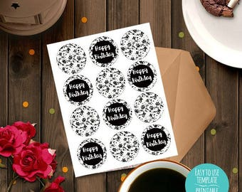 Happy Birthday white floral Printable Cupcake Toppers, Birthday decoration, Instant download, party decoration, treat decorations, DIY