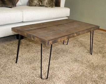 Modern Coffee Table, Hairpin Leg Coffee Table, Wooden Coffee Table,  Industrial Coffee Table