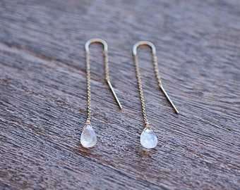 Moonstone Drops Threader Earrings // Moonstone Earrings // Bridal Jewelry // Bridesmaid Gifts // Gold Fill or Sterling Silver