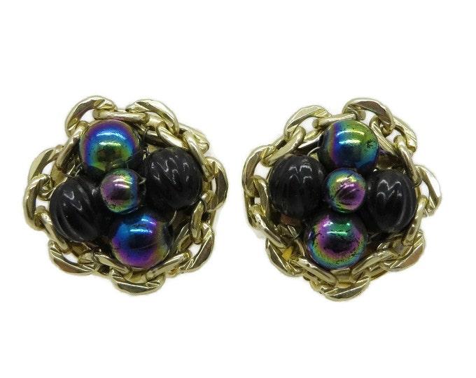Iridescent Blue Earrings, Vintage Earrings, Blue Cluster Earrings, Hong Kong Earrings, Clip on Earrings, Beaded Earrings