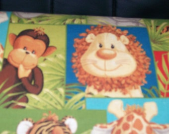 """Fabric Traditions - Jungle Babies Patty Reed Elephant Lion Giraffe Scene 100% Cotton  44"""" Wide Sold By The Yard"""