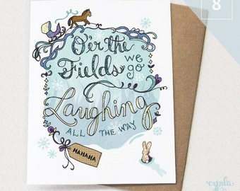 Laughing Holiday Card BOX of 8 - Oer the fields we go - holiday card, christmas card - Laughing all the way