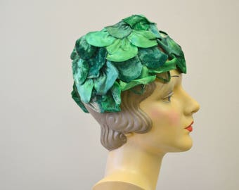 1960s Emerald Green Floral Petal Hat