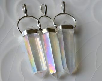 Beautiful Angel Aura Quartz Pendant, Double Point Pendant, Sterling SIlver