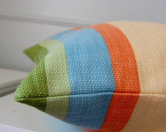 Striped Pillow Cover, Decorative Pillow Cover, Green, Blue, Yellow Stripes, 16x16 Throw Pillow, Cushion Cover