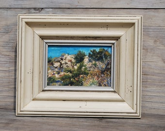 Original Oil Painting, Hills Along US Highway 1, California, Painting on Wood, Framed Wall Art