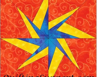 HC Starburst 10 Inch Paper Piece Foundation Quilting Block Pattern