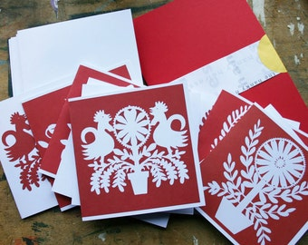 Scandinavian/Folk Art Style Cards  - Pack of 10 -Red and Whitej