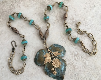 Verdigris Patina Leaf Pendant Necklace