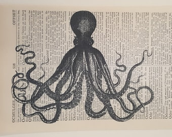 Dictionary Page Art Print of birds, owl, fox, octopus...