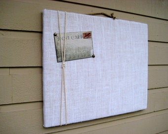 Burlap Pin Board, Choose your own color of burlap for your photo Memory Board, macrame cord or jute twine accent to display photo's