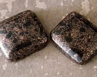 Copper Firebrick Pair of Rectangle Cabochons