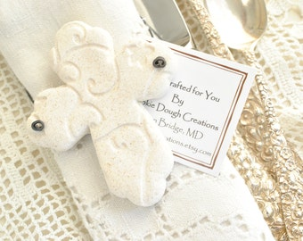 Personalized Imprinted Cross Baptism / Communion / Wedding Favors Set of 6 Salt Dough Easter Napkin Ring Ornaments