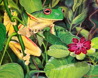Copy Print NOT MOUNTED on Matte Canvas from my Original 20x16 Acrylic Painting Frog you choose Size Home Decor