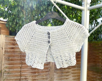 Silver gray lace Bolero shiny short sleeves, summer, summer, girl Cardigan vest bolero
