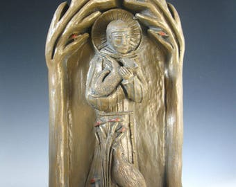 St Francis, Patron of Nature: Handmade Statue / Plaque