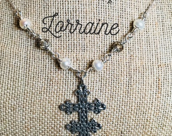 Sterling Silver Cross of Lorraine Necklace, pearl and czech beads, Wire Wrapped