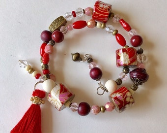 Ruby Tuesday Two - wrap handmade paper bead bracelet