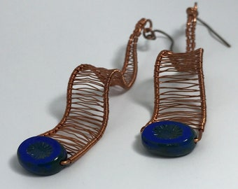 Wavy Woven Wire Earrings.