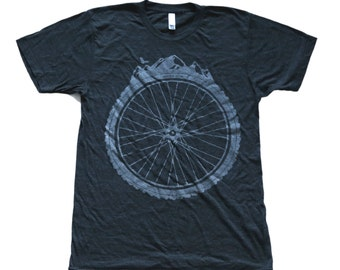 Bicycle Wheel and Mountains