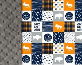 Adventure Baby Blanket, orange navy gray Lumberjack Minky blanket moose buffalo blanket, woodland blanket boy blanket birth gift blanket