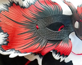 Leather Siamese Fighting Fish Mask - Made to Order