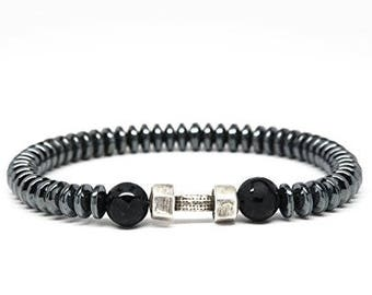 Black Onyx and Hematite Beaded Mens Bracelet with Dumbbell