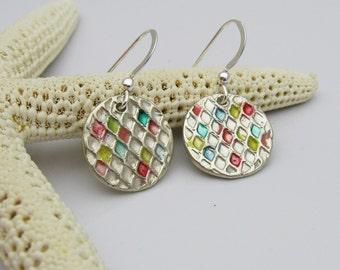 Silver and Resin Earrings, Handmade Resin Earrings, Handmade Silver Earrings, Bright Colored Earrings, Silver Dangle Earrings, Neon Ear