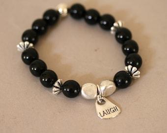 Black and Silver Stretch Bracelet, Confirmation Jewelry, Black Bracelet, Inspirational Bracelet, Onyx Bracelet