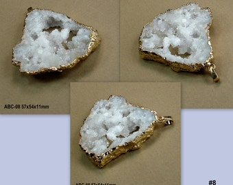 Druzy drusy Geode Pendant Gemstone Focal Bead Gold Electroplated Dipped (ABC-7-11)