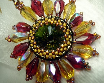 TUTORIAL for Crystal and Seed Bead Autumn Flower Earrings or Pendant