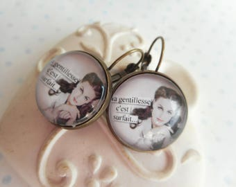 "Earrings cabochon 20 mm glass ""kindness that is overrated"" bronze, white, red, humor, optional gift box"