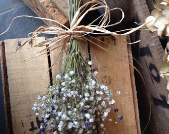 Dried Bunch Gypsophila Baby's Breath and Dried English Lavender Pew Ends Chairs Hangings Rustic Wedding Decor Church Aisle Runner