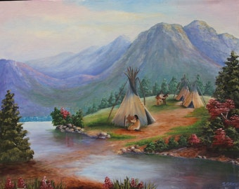 Teepee Living in Oils, Teepee Living Painting, Native American Art, Southwest Art, Painting of Teepee, Home Decor, Wall Art