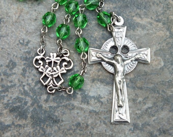 Celtic Rosary in Grass Green Czech Glass, 5 Decade Rosary