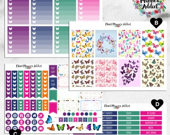 Vertical Weekly Kit Planner Stickers - Watercolour Butterflies | Boxes, MDN, Icons | For Use With Erin Condren Life Planner™ (EC-002)