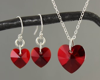 Siam Ruby Red Heart Necklace & Earrings Set -sparkly vibrant red Swarovski crystal - sterling silver chain and ear hooks -free shipping USA