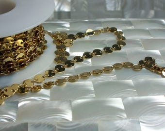 1 Foot High Polish Gold Plated 6mm Disc/Sequin Style Closed Link Chain Nickel Free Brass Jewelry Jewellery Craft Supplies Necklace Bracelet