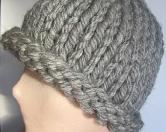 Gray Chunky Knit Hat/Gray Knit Hat/Grey Knit Hat/Grey Chunky Knit Hat/Gray Beanie/Grey Beanie/Knit Beanie/Chunky Knit Beanie