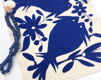 Otomi Embroidered Textile. Blue embroidery Otomi, Casual Style, Hand-embroidery on Ivory Cotton