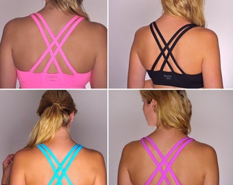 Brave Girls Sports Bra/ Yoga Bra, Pink, Black, Blue. Lightweight, breathable, comfy sportsbra. 10% sales donated to Breast Cancer charity
