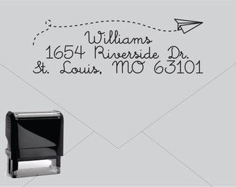 Self Inking Return Address Stamp * Custom Address Rubber Stamp (E035) Paper Airplane