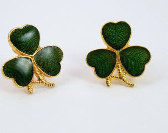 Vintage Clover Design Clip-on Earrings, Green Enamel & Gold-tone Metal