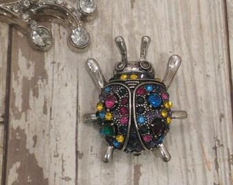 Rhinestone Lady Bug Pin Brooch