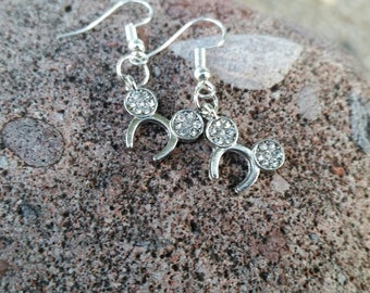 Silver Mouse Ears Headband Charm Earrings - Gift Ideas - Vacation Reveal - Amusement Park Accessories